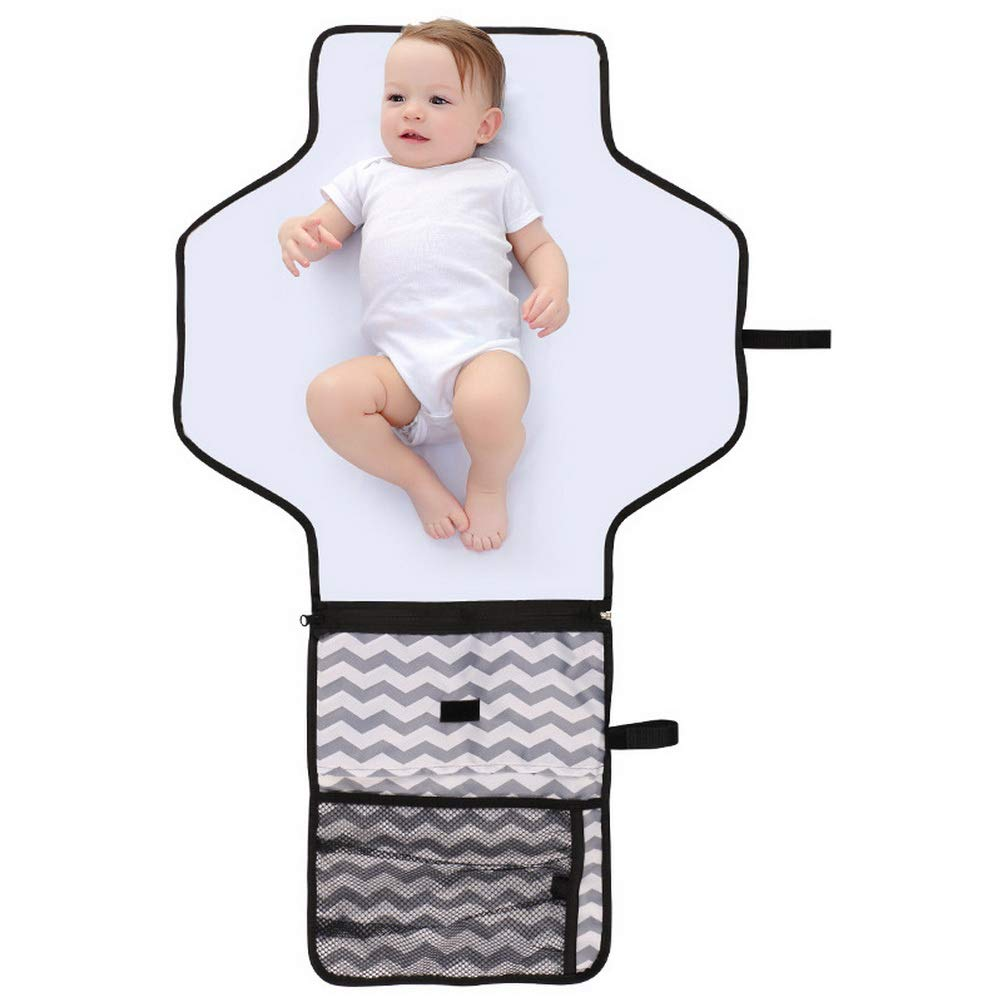 nuosen Portable Nappy Changing Mat, Waterproof Travel Diaper Changing Pad Foldable Baby Changing Kit Travel Diaper Pad Keep Baby Clean for Home Travel Outside