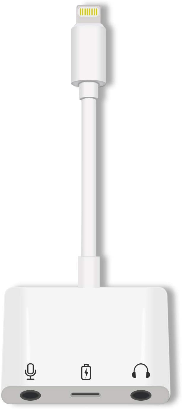 iPhone Headphones Adapter Apple MFI Certified 3.5mm Audio Adapter Splitter 3 in 1 Fast Charger Dual Earphone Adapter Original Lightning Charger Compatible 12 Mini Pro Max 11 X 8 7 iPad iPod (White)
