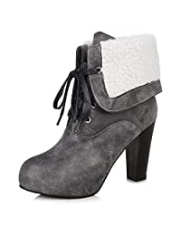 A&N Womens Bandage Chunky Heels Two-Toned Imitated Leather Boots