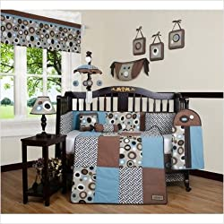 GEENNY Boutique Unisex 13 Piece Crib Bedding Set, Blue/Brown Scribble