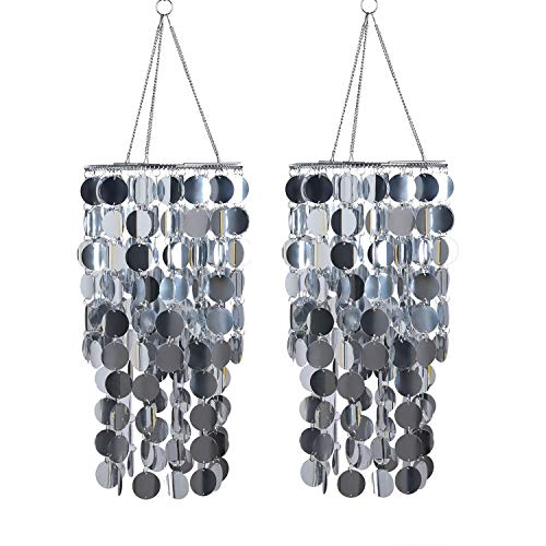 FlavorThings 2 Pcs Silver Bling Hanging Chandelier Great idea for Wedding Chandeliers Centerpieces Decorations and Any Event Party Decor Silver-2pcs