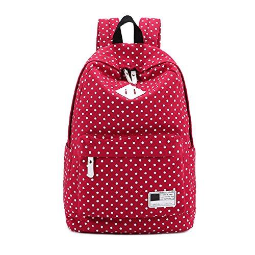 Malloom® lona Mochila lunares bolsa para la escuela viajar bolso de hombros (rosa fuerte) rojo