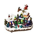 LED Lighted Animated Snowy Christmas Village House Scene with Flying Santa