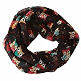 Ikevan Hot Selling Newest Women Girls Owl/Cats Pattern Retro Voile Warm Scarf Collar Scarves Neckerchief Winter 170x 50cm (Black)
