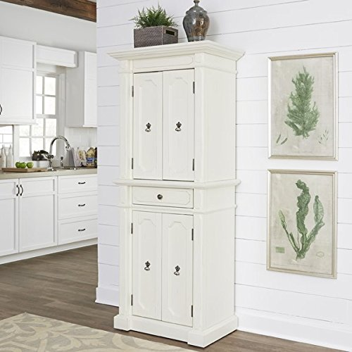 Classic Sleek Kitchen Pantry, Durable Hardwood Construction, 6 Removable and Adjustable Shelves, 1 Storage Drawer, Weathered White Finish by Jaxterrific