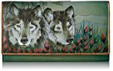 Anuschka Hand Painted Rfid Blocking Two Fold French Wallet Western Wolf, Wolf-Western Wolf, One Size