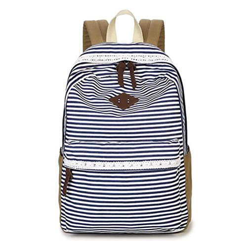 Nasis New Fashion Simple Canvas Shoulder Bag Young Girls Cross Body Bag Ladies School Daypacks Outdoor Backpack With Stripes and Lace Design Multi-function Bag AL5064 (blue)