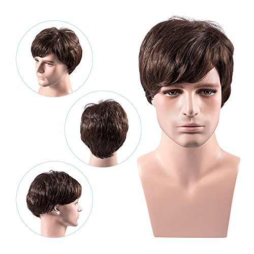 MelodySusie Men's Wig Dark Brown Natural Looking Short Wigs with Wig Cap for Daily Wear and Formal Occasions, Dark Brown]()