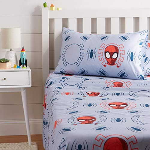 AmazonBasics by Marvel Spiderman Spidey Crawl Bed Sheet Set, Twin (Kids Twin Flannel Sheets)