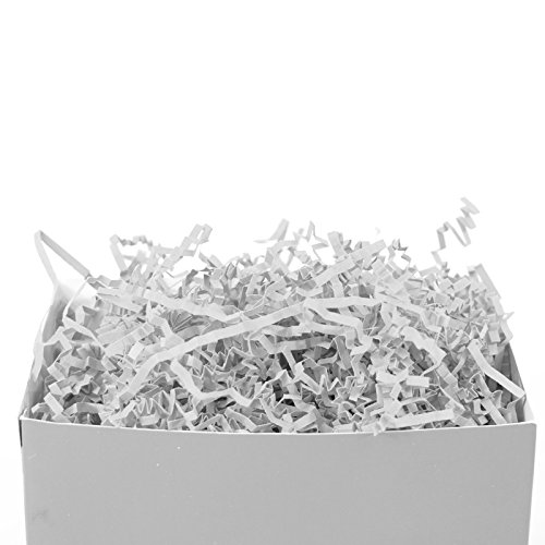 Crinkle Paper Shred for gift box filler or kraft , Crinkle Cut Paper Shred Filler for Gift Wrapping & Basket Filling, Perfect for Stuffing Gift Bags (White) ()