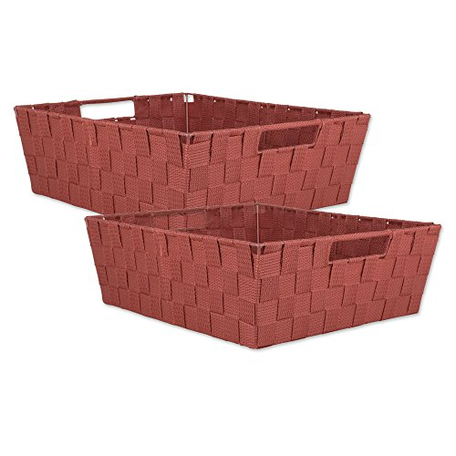 DII Durable Trapezoid Woven Nylon Storage Bin or Basket for Organizing Your Home, Office, or Closets (Tray - 13x15x5) Rust - Set of 2