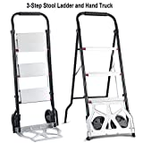 Brand New & Multifunctional 2-in-1 Convertible 3-Step Ladder Hand Truck w/Two Wheels, Steel & Alumium Construction, Perfect for Household Task, Small Offices, Retail Stores