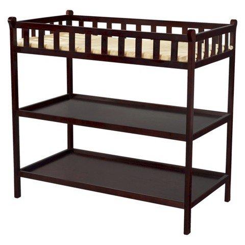 Delta Winter Park Changing Table - Java - Kids Necessity - Bedroom Furniture - Shelves - Organizer - 90 Day Limited Manufacturer Warranty.