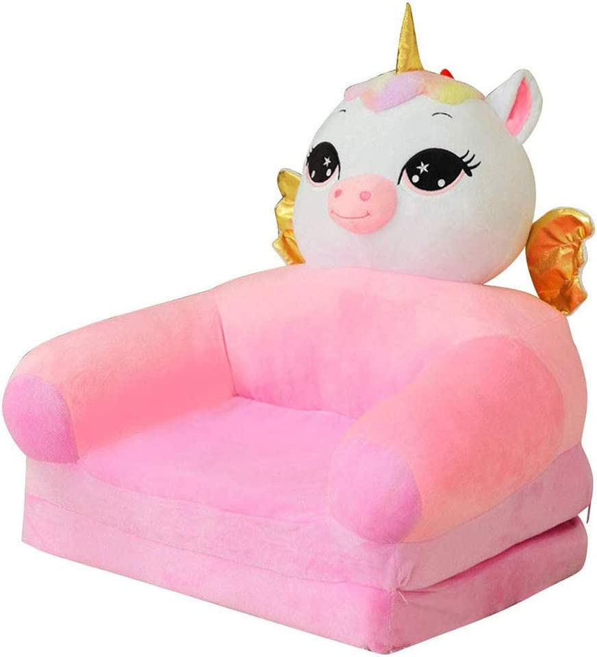 Olpchee Plush Foldable Children Sofa Cute Cartoon Lazy Sofa Backrest Armchair Baby's Upholstered for Living Room Bedroom (Unicorn)