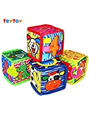 Teytoy My First Blocks, 4pcs Baby Soft Cloth Educational Blocks, Novelty Toy about Letters Number Animal Color Parent-Child Interaction Activity Perfect Baby Gift