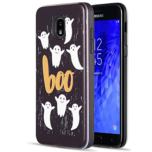 [ Storm Buy ] Phone Case Compatible with [ Galaxy J3 Star\J3 Achieve\Express Prime\Amp Prime 3\Sol 3 \J3 V 3rd Gen ] Halloween Ghost Phantom Spooky Protective Sturdy Rubber Cover for J3 2018 (Boo) -