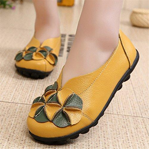 casuales apretones Bridfa moda las resbalón Zapatos mujeres Amarillo otoño de del la genuino sin del Los de solos Zapatos del del resorte cordones cuero Zapatos planos xpzrzYna