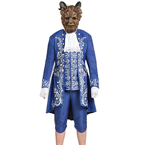 mewow Halloween Costume with Mask Men's Boys Beast Prince Cosplay Fansy Uniform Outfit (M, Outfit)
