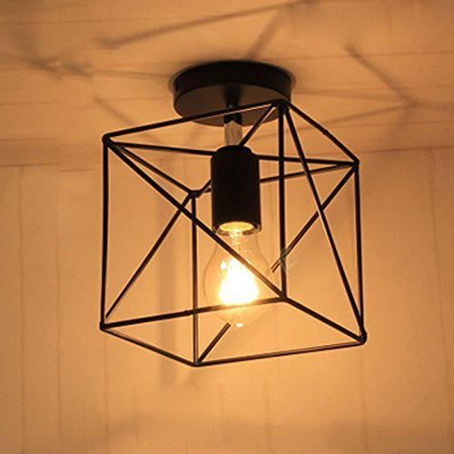 NIUYAO Industrial Antique Square Shape Mini Style Metal Wire Cage Vintage Semi Flush Mount Ceiling Light Fixture with 1 Light Black - Cage Ceiling Light
