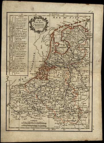- Holland Netherlands Les Pays Bas 1810 Lattre Delamarche cartouche scarce old map