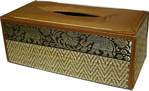 TOPMOST N-9001, Handmade Thai Woven Straw Reed Rectangular Tissue Box Cover with Silk Elephant Design 5x3.7x10.2 Inch, Gold