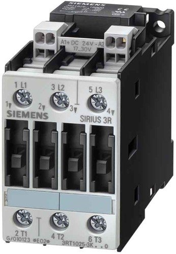 Siemens 3RT10 23-1BB40 Motor Contactor, 3 Poles, Screw Terminals, S0 Frame Size, 24V DC Coil Voltage