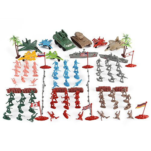 Liberty Imports Army Men Action Figures Soldier Bucket Playset with Scaled Tanks, Planes, Submarines, Flags & More! (Miniature Submarine Toy)