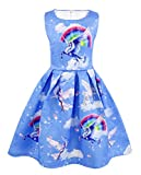 AmzBarley Girls Unicorn Party Dress Costumes Outfits Kids Clothes Birthday Evening Prom Fancy Dress Carnival A-line Dress Age 7-8 Years Blue 130/8