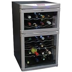 Koolatron Temperature Control Dual-Zone Wine Cellar with Digital Thermometer, Glass Mirror Door, Black, 24 Bottle Holder Rack