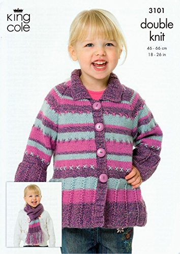 King Cole Childrens Coat, Sweater & Scarf Knitting Pattern 3101 - Sweater Coats Patterns Knitting