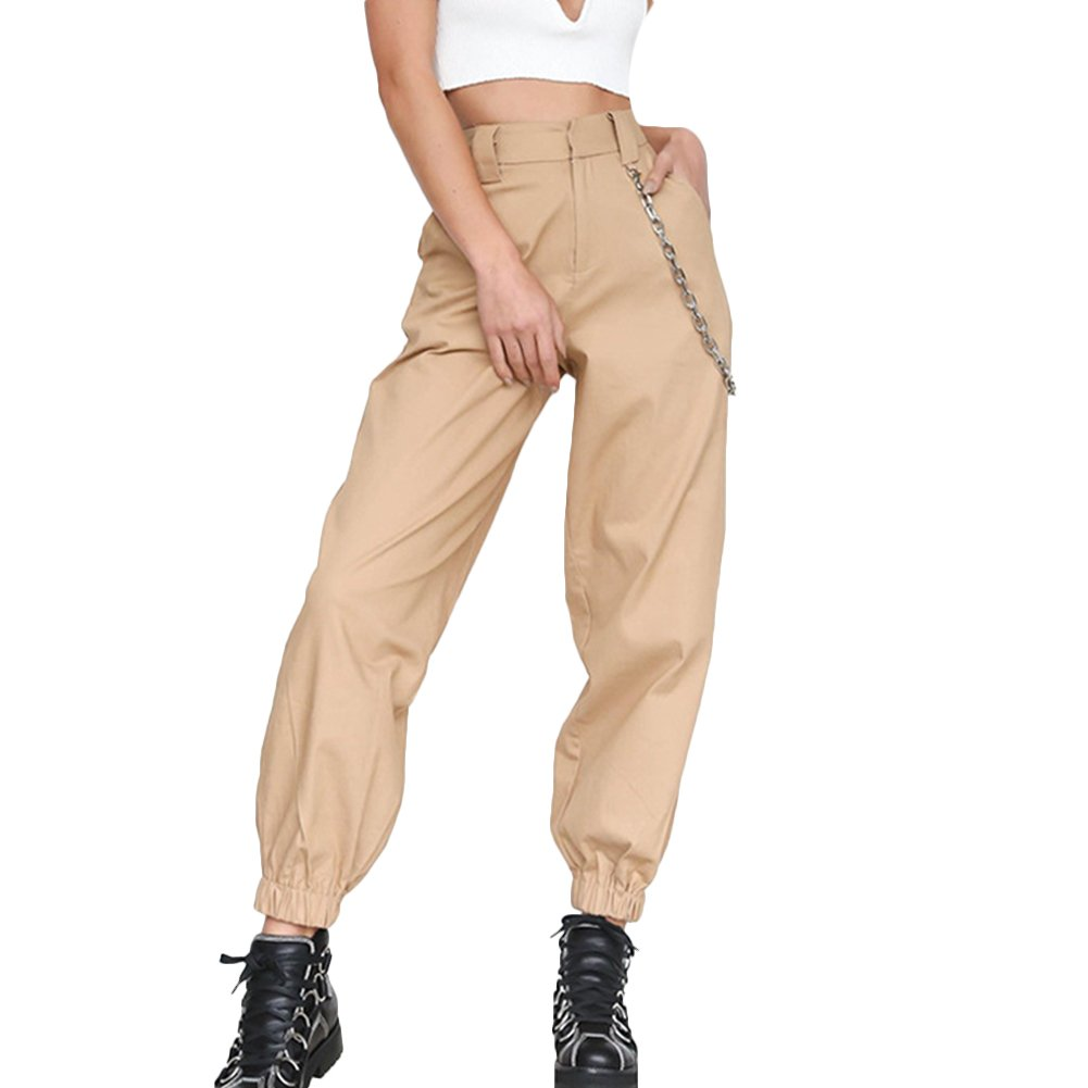 VERYCO Women Chain Pockets Harem Trousers Loose High Waisted Cargo Casual Pants Trousers