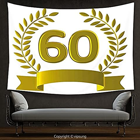 House Decor Tapestry 60th Birthday Decorations Golden Age Party with Rome Empire Theme Branches Art Print Gold and White Wall Hanging for Bedroom Living Room (Marilyn Monroe Bedroom Theme)