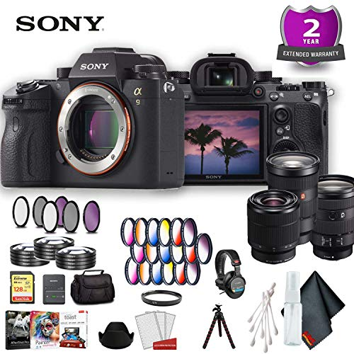(Sony Alpha a9 Mirrorless Digital Camera (Body Only) (International Model) Ultimate Accessory Bundle w/ 3 Lens)