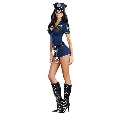 Amazon.com: Amosfun disfraz de policía para mujer, disfraz ...
