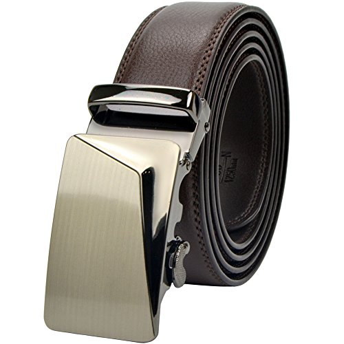Brown Leather Designer Belt (Men's Leather Ratchet Dress Belt with Automatic Buckle Original Gift)