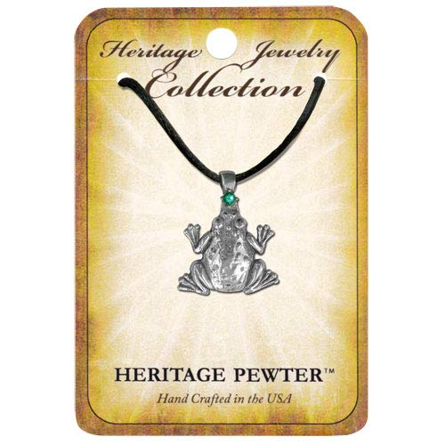1pc, Pewter Frog Pendant Emerald