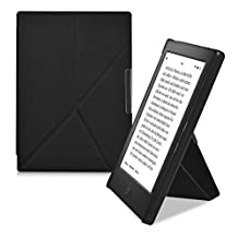 kwmobile Elegant flip synthetic leather case for Kobo Aura H2O Edition 1 in black - practical magnetic clasp and stand function