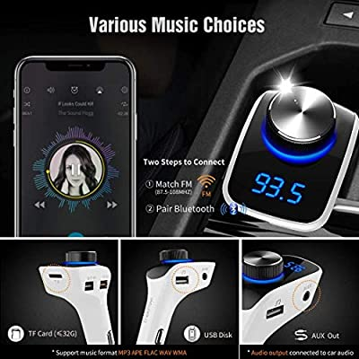 Trekpow F10 Bluetooth FM Transmitter for Car-Wireless Bluetooth 4.2 in-Car Radio Adapter Car Kit with Handsfree Calling, 3 USB Ports, LED Display, Support TF Card, U-Disk, AUX Output: MP3 Players & Accessories
