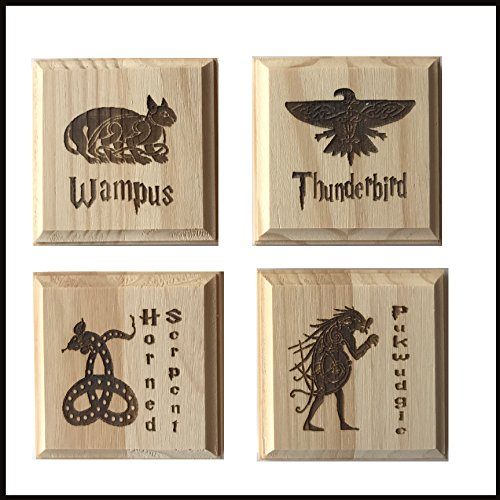 Ilvermorny Coasters- set of four etched wood coasters: Thunderbird, Wampus, Horned Serpent, (Thunderbirds Wood)