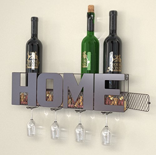 Home Wall Mounted Metal Wine Rack with 4 Long Stem Glass Holder - Wine Cork Storage - Gifts for Wine Lovers - by HouseVines