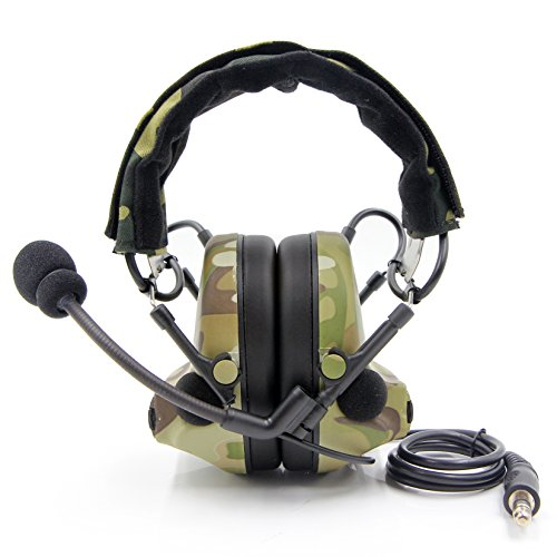 Tactical Headset Noise Reduction Electronic Sound Pickup Safety Ear Muffs with Microphone, Camouflage by TOENNESEN