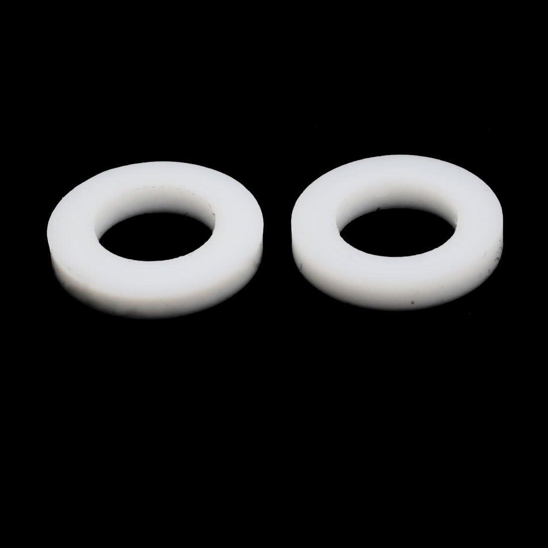 uxcell 18mmx10mmx3mm PTFE Flat Washer Flange Gasket White 10pcs