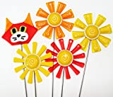 Glassworks Northwest - Orange and Yellow Cat, 2 Flowers and 2 Daisies Plant Stakes - Fused Glass Garden Art