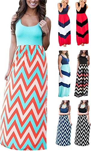 LETSRUNWILD Women's Boho Chevron Striped Print Summer Beach Sleeveless Tank Long Maxi Party Dress (Mint, X-Large) ()