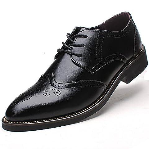 Rismart Men's Office Dress Brogue Leather Oxfords Shoes(Black US8.5)