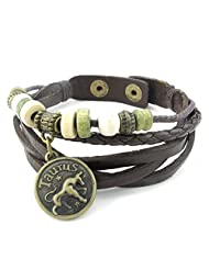 "TEMEGO Jewelry Mens Womens Leather Bracelet,Constellation Logo Beads Charms Wrap Cuff Bangle,Fits 7""-7.5', Brown"