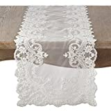 SARO LIFESTYLE Embroidered Floral Lace Beaded Antique Style Table Runner, 16'' x 72'', White
