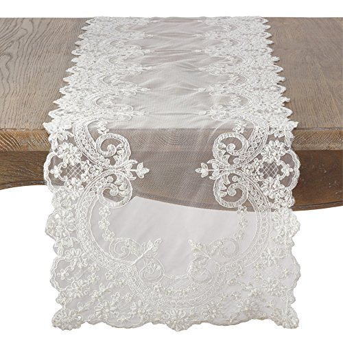 SARO LIFESTYLE Embroidered Floral Lace Beaded Antique Style Table Runner, 16