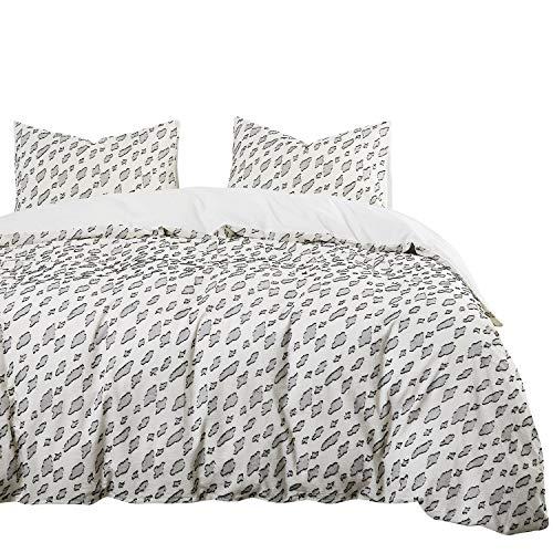 Wake In Cloud - Leopard Beige Duvet Cover Set, 100% Washed Cotton Bedding, Black Leopard Pattern Chiffon Jacquard (3pcs, Queen Size)