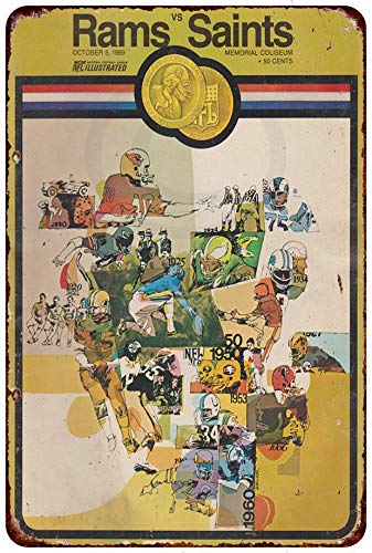 Custom Kraze 1969 Los Angeles Rams Vs New Orleans Saints Reproduction Metal Sign 8 x 12